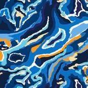 blue swirl fabric// stunning colours in free form swirl