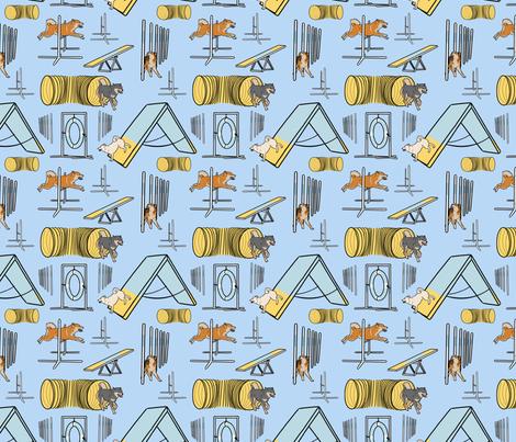 Simple Shiba Inu agility dogs - small blue fabric by rusticcorgi on Spoonflower - custom fabric
