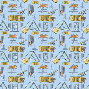 Simple Shiba Inu agility dogs - small blue