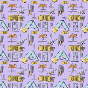 Simple Shiba Inu agility dogs - small purple