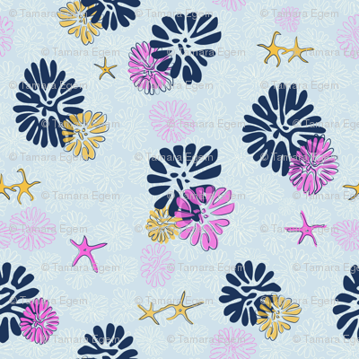 Floral Fossils & Starfish, pinky blue