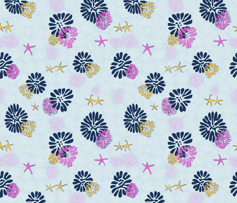 Floral Fossils & Starfish, pinky blue fabric by mara_designs on Spoonflower - custom fabric