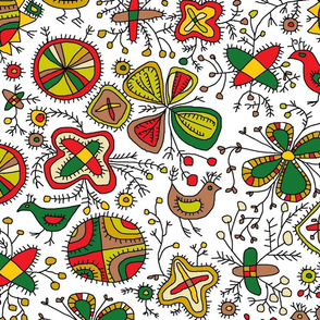 archaic folk flowers ethno tribal