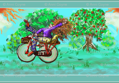 cycle of flight with apple tree _ redhead +dog-