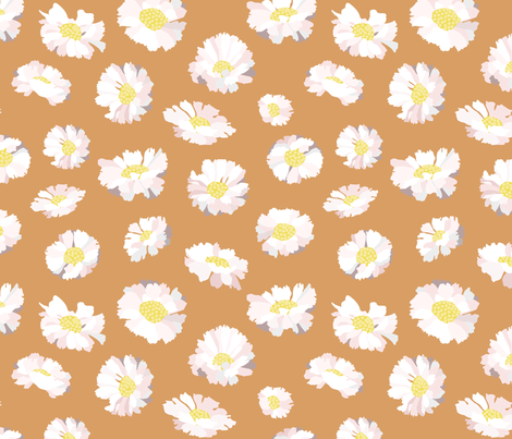 Peachy Dasies fabric by little_luck_designs on Spoonflower - custom fabric