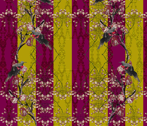 Red black bird olive and Burgandy layout fabric by janetteatkinson@yahoo_co_uk on Spoonflower - custom fabric