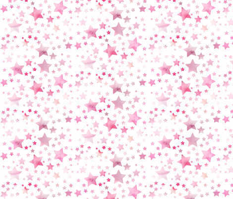 Stars - watercolour pink fabric by emeryallardsmith on Spoonflower - custom fabric