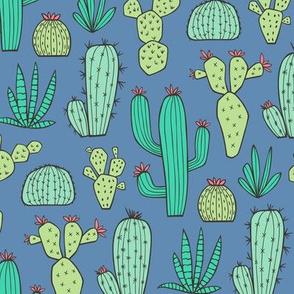 Cactus on Dark Blue Navy