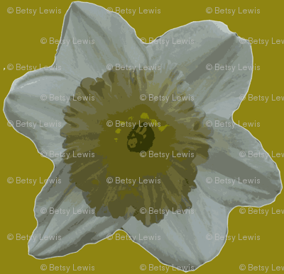 Daffodil on Gold Large Scale 1-ch