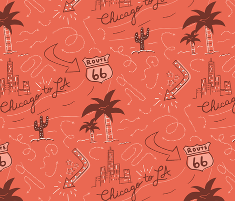 Chicago to LA 66 Road Trip fabric by gieslaanne on Spoonflower - custom fabric