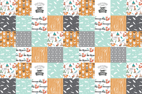 be brave little fox cheater quilt - with tribal arrows - gender neutral fabric by buckwoodsdesignco on Spoonflower - custom fabric