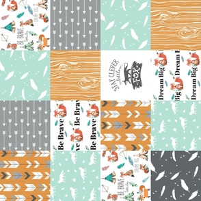be brave little fox cheater quilt with tribal arrows (rotated) - gender neutral