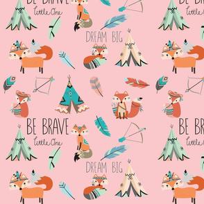 Brave little fox- on baby pink