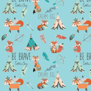Brave little fox- on aqua
