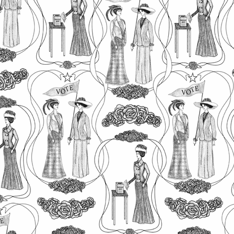 Suffragettes Giving women a voice Gray fabric by vo_aka_virginiao on Spoonflower - custom fabric
