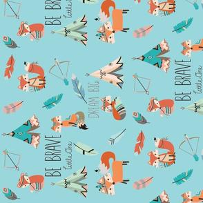 Be Brave Little Fox (rotated 90)- on aqua