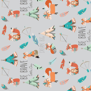 Be Brave Little Fox (rotated 90)- on light grey