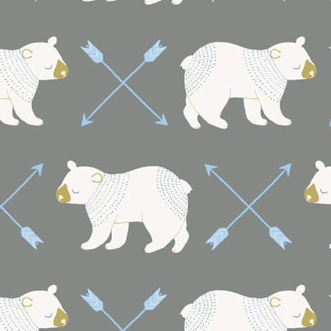 bears and arrows gray fabric by littlefoxhill on Spoonflower - custom fabric