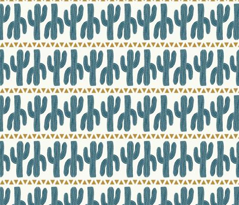 cactus stripe cream fabric by littlefoxhill on Spoonflower - custom fabric