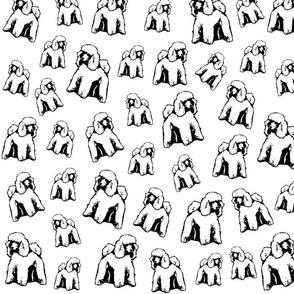 Standard Poodle full body black white fabrics