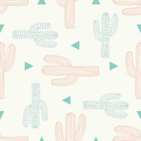 saguaro cactus toss fabric by littlefoxhill on Spoonflower - custom fabric