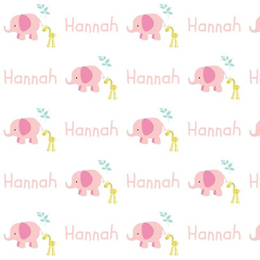 Elephant Giraffe Pink Mint leaves - pink text PERSONALIZED Hannah