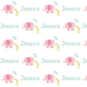 Elephant Giraffe Pink Mint leaves - mint text PERSONALIZED Jessica