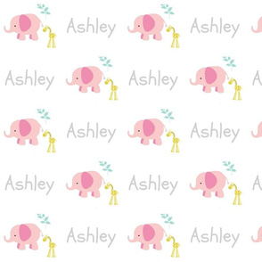 Elephant Giraffe Pink Mint leaves -gay text PERSONALIZED Ashley