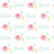 Elephant Giraffe Pink Mint leaves -mint LAV text PERSONALIZED Charlotte
