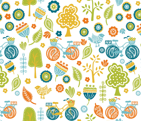 Cycling in the park  fabric by thepeachtree on Spoonflower - custom fabric