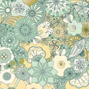 70s Flowers - Mint