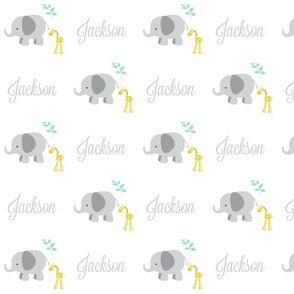 Elephant Giraffe Gray Mint leaves -gray LAV text PERSONALIZED Jackson