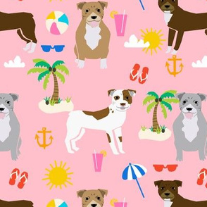pitbull beach (larger scale) summer dog breed fabric