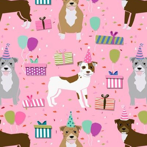 pitbull birthday mixed pink (larger scale) dog breed fabric