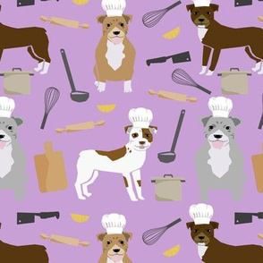 pitbull chefs (larger scale) dog breed fabric