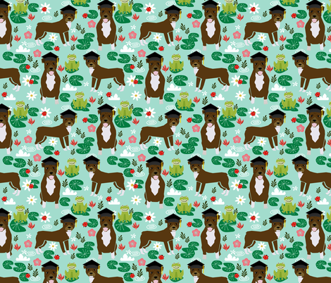 pitbull frogs graduation (larger scale) dog breed fabric  fabric by petfriendly on Spoonflower - custom fabric