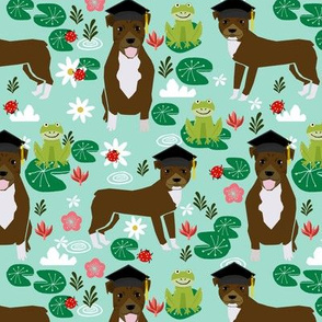pitbull frogs graduation (larger scale) dog breed fabric
