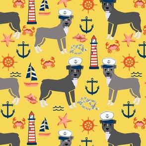pitbull nautical  (larger scale)  dog breed fabric custom color