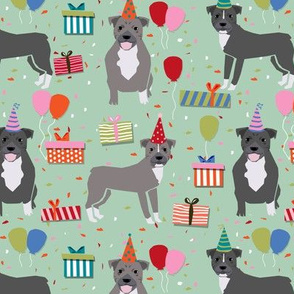 pitbull birthday (larger scale) party dog breed fabric