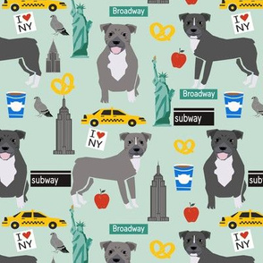pitbull nyc (larger scale)  dog breed fabric