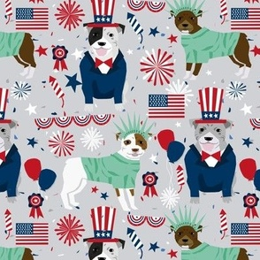 pitbull patrioticjuly 4th (larger scale) dog breed fabric