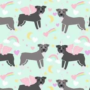 pitbulls unicorn (larger scale) rainbow dog breed fabric