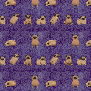 Crazy Pugs on Purple Damask
