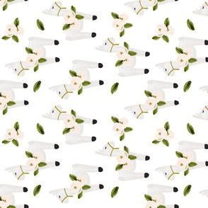 floral llamas // rotated