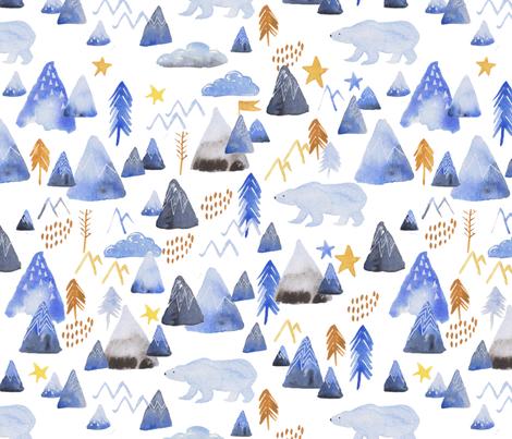 mountains and polar bears fabric by kimmygowland on Spoonflower - custom fabric
