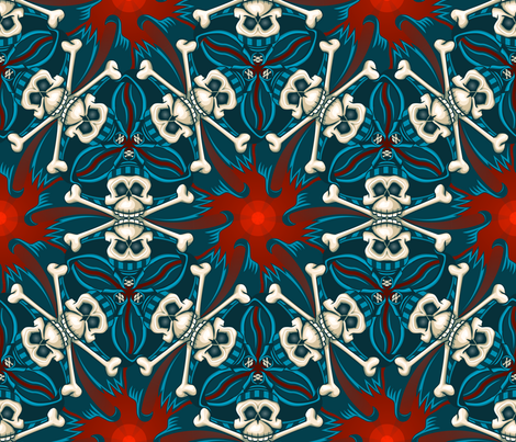 ★ ANDALUSIAN PIRATE SKULL GEOMETRIC PATTERN ★ Blue, Red and Ecru - Large Scale / Collection : ¡ Piratas ! Skull and Crossbones Prints 1 fabric by borderlines on Spoonflower - custom fabric