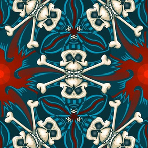 ★ ANDALUSIAN PIRATE SKULL GEOMETRIC PATTERN ★ Blue, Red and Ecru - Large Scale / Collection : ¡ Piratas ! Skull and Crossbones Prints 1