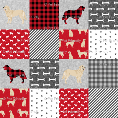 golden retriever pet quilt a cheater wholecloth dog breed fabric