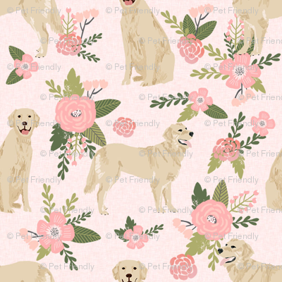 golden retriever pet quilt d cheater collection floral dog breed fabric