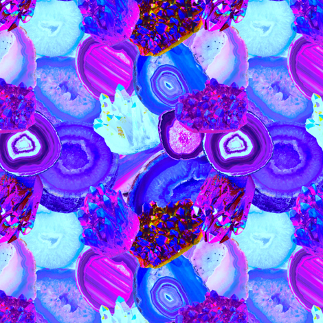 Electric Gems + Geodes in Orchid fabric by elliottdesignfactory on Spoonflower - custom fabric